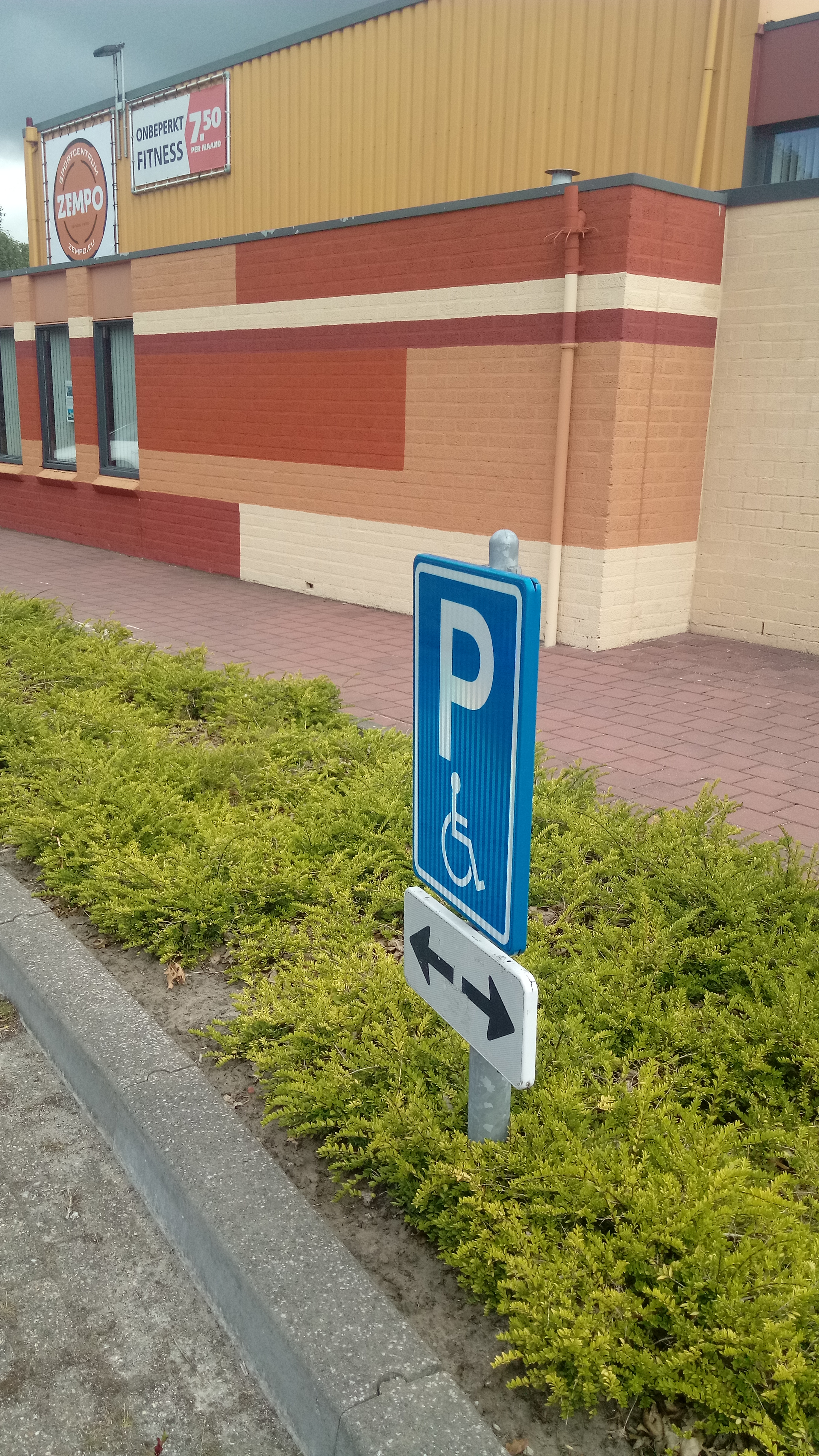File:Disabled parking sign with arrows pointing to the left