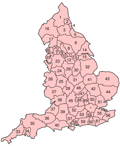 Local government in England as proposed by the report.  The metropolitan areas are 22 (Merseyside), 23 (Selnec) and 25 (West Midlands).