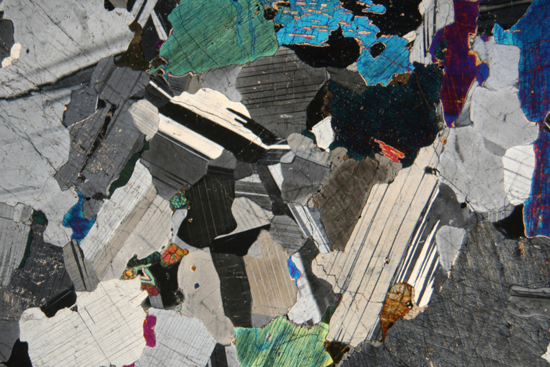 Thin section photomicrograph of a gabbro, (crossed polarizing filters).  Image credit: Siim Sepp (CC-BY-SA).