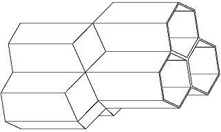 電腦繪製的兩個相對的蜂巢層模型, 顯示其中一蜂巢層的三個巢室適合地和對面層的另三個巢室合併在一起。