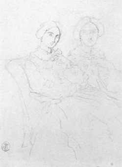 Sketch showing two seated figures