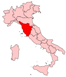 Map of Italy showing the Tuscany region in red