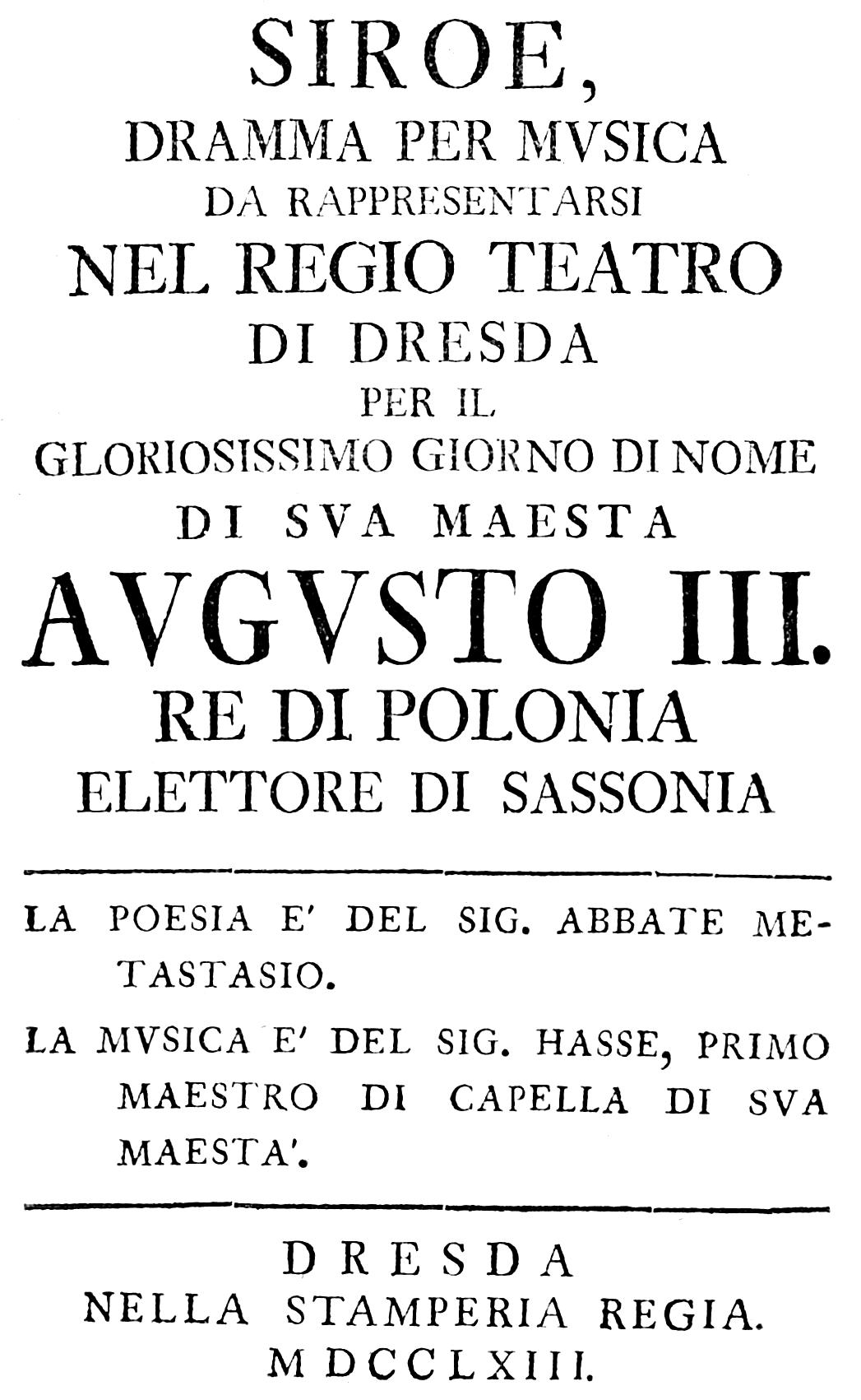Filejohann Adolph Hasse Siroe Re Di Persia Italian Titlepage Of