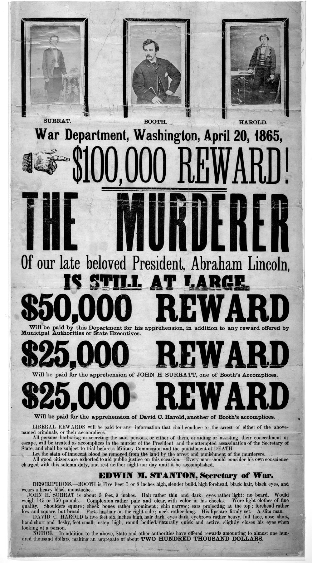 FileJohn Wilkes Booth wanted poster newjpg Wikipedia – Real Wanted Posters