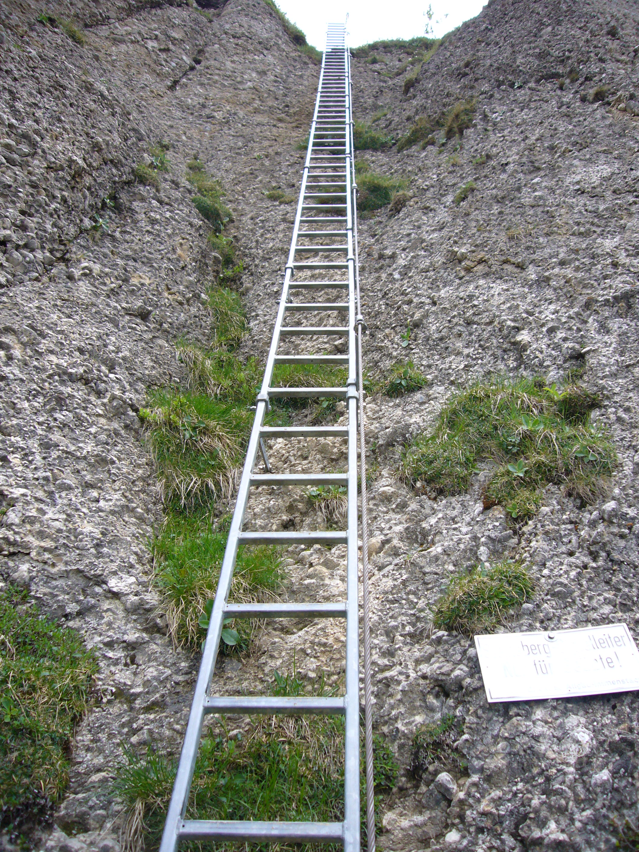 A very, very tall ladder leaning against a cliff face