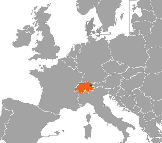 Map indicating locations of Liechtenstein and Switzerland