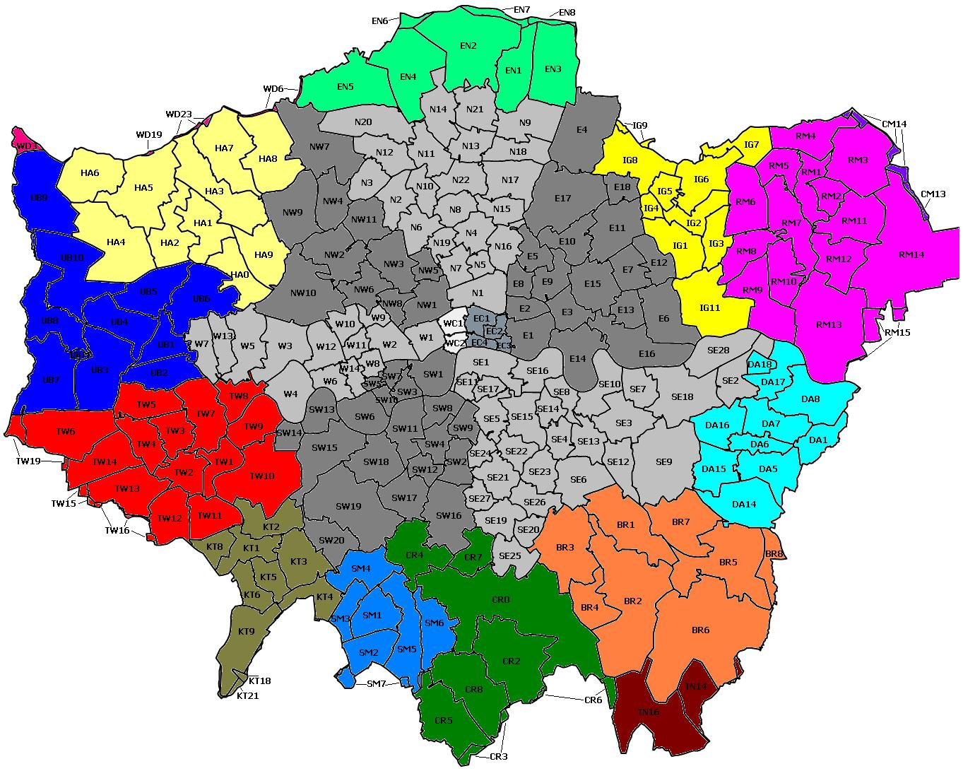 Map Outer London.File London Postal Region Map Jpg Wikipedia