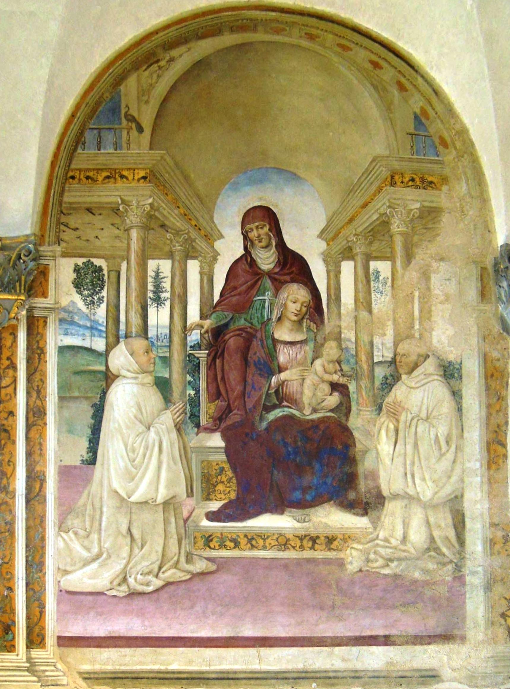 Monastero di Sant'Anna in Camprena, refettorio, Sant'Anna e la Madonna col Bambino in trono tra due monaci olivetani.JPG