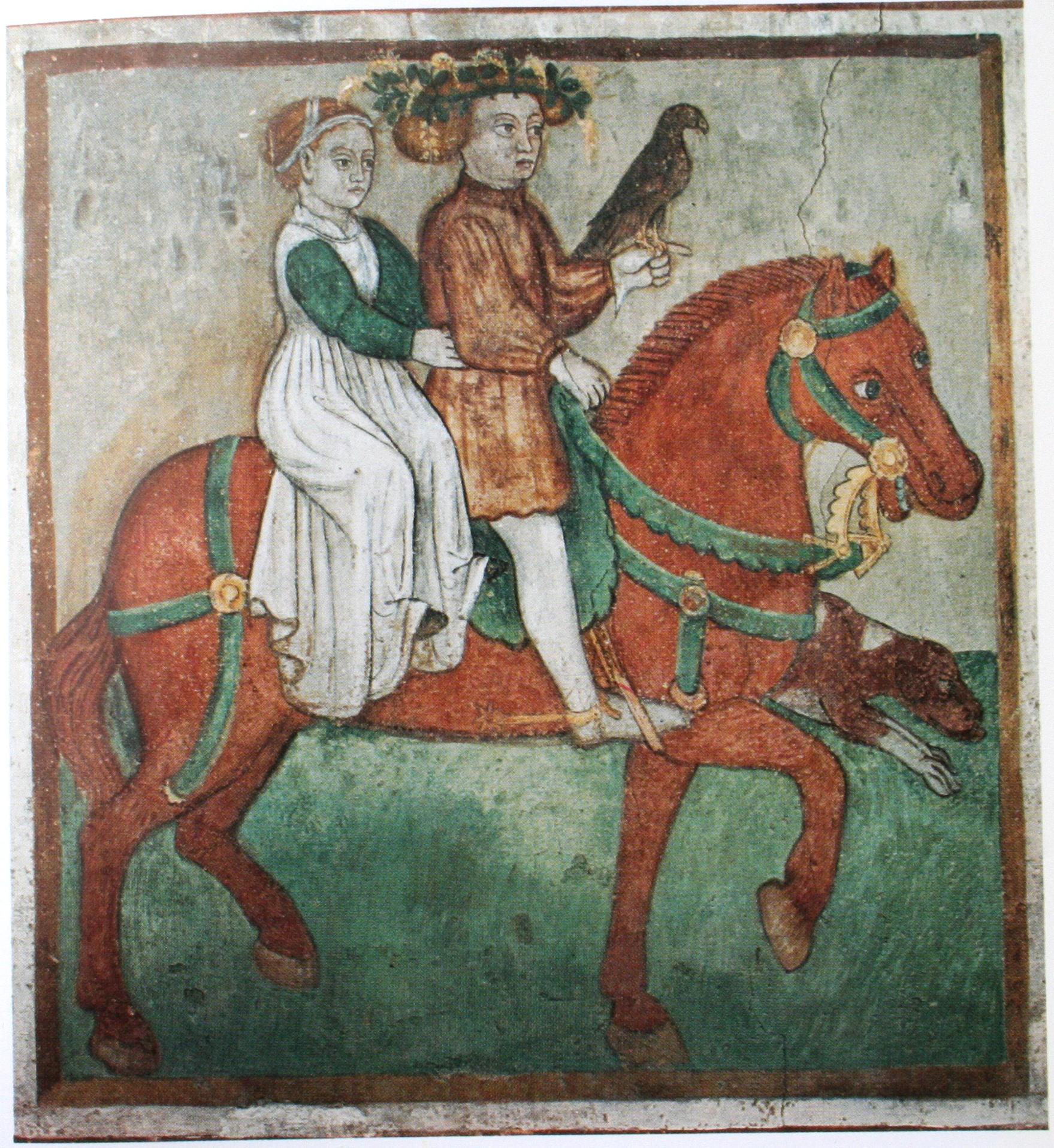 Ein junges Paar reitet zur Falkenjagd: Darstellung des Monats Mai in einer Wandmalerei der Kirche Sta. Maria del Castello, 13. Jh.