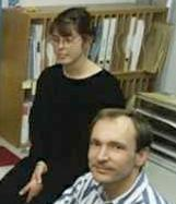 Nicola Pellow and Tim Berners-Lee in their office at CERN.