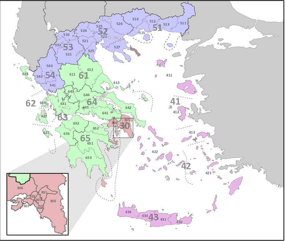 NUTS Statistical Regions Of Greece Wikipedia - Germany nuts 3 map