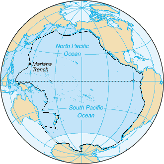 Area inside the black line indicates the area constituting the Pacific Ocean prior to 2002; darker blue areas are its informal current borders following the recreation of the Southern Ocean and the reinclusion of marginal seas Pacific Ocean - en IHO.png