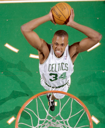 Paul Pierce was drafted 10th overall in the 1998 NBA draft, going on to win the 2008 NBA Finals MVP award. Paul Pierce Lipofsky.jpg