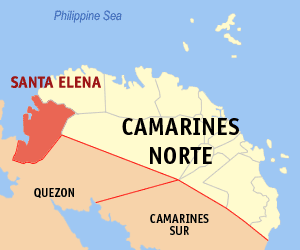 Map of Camarines Norte showing the location of Santa Elena