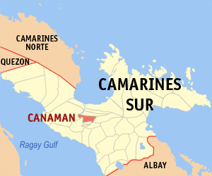 Map of Camarines Sur showing the location of Canaman