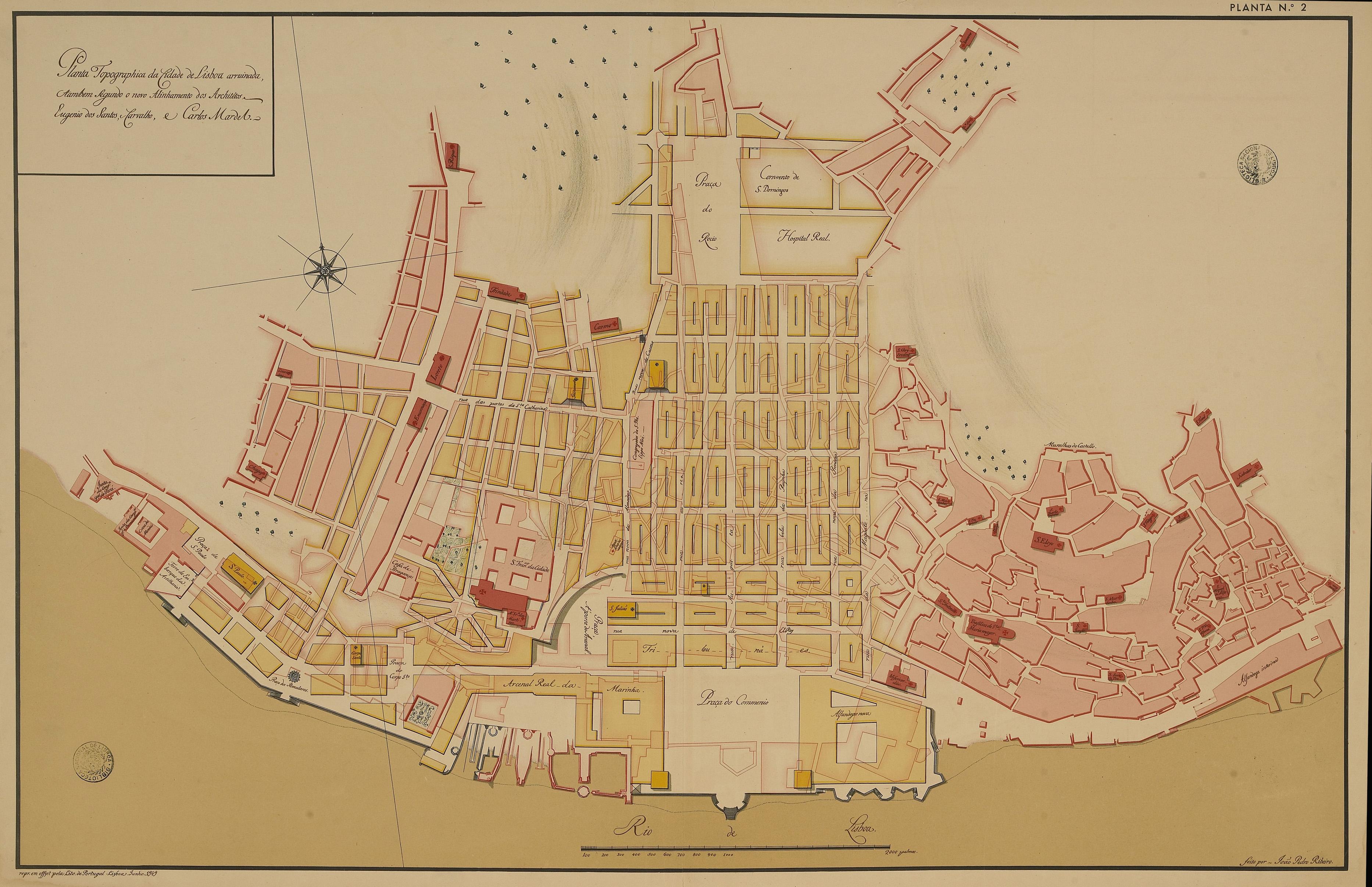 Pombaline Baixa Lisbon map 1756.jpg