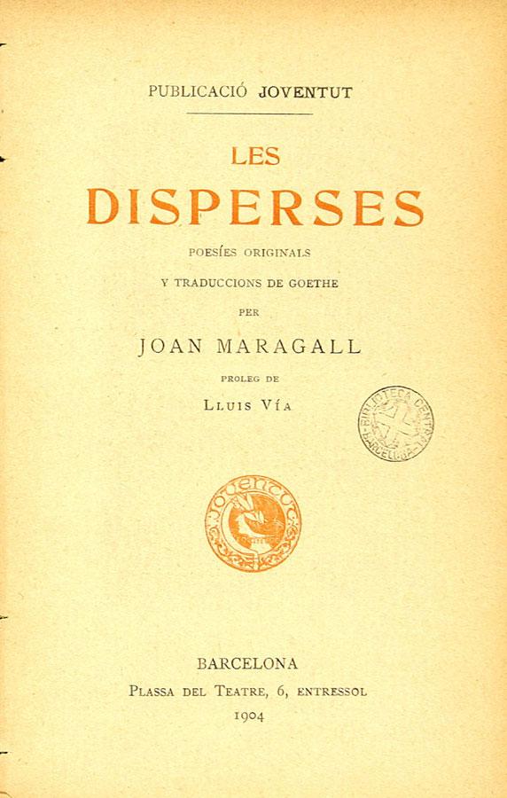 Portada de Les Disperses con traducciones de obras de Goethe (1904)