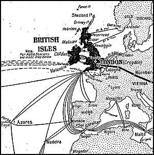 19th Century map showing the early telegraph c...