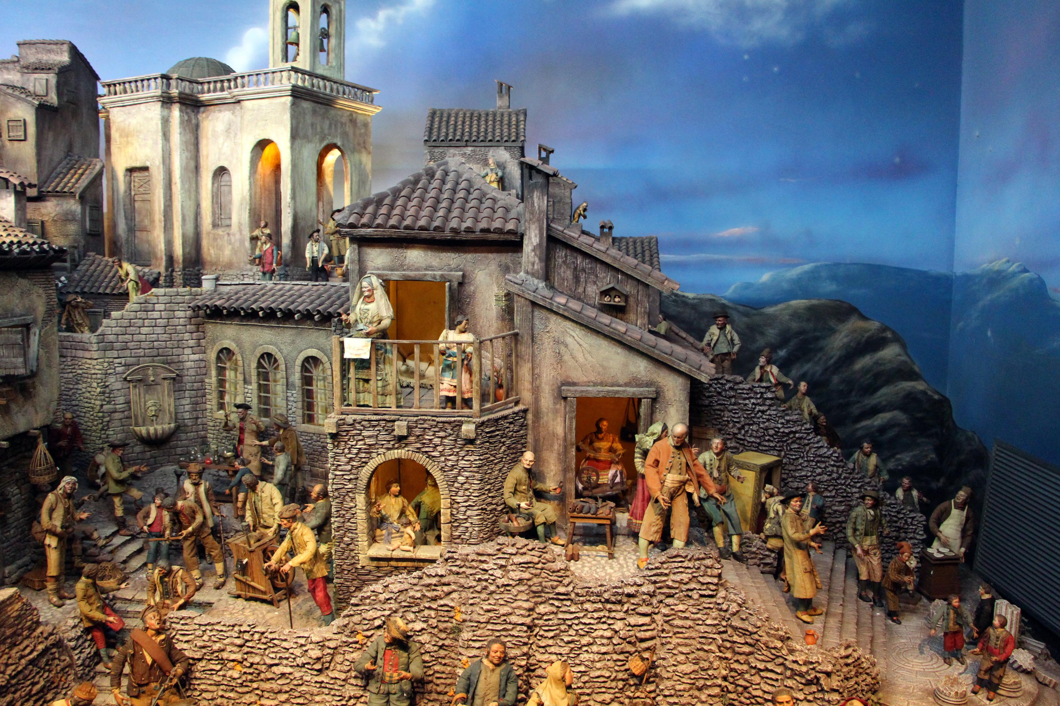 File presepe napoletano del museo di arte sacra di san for Foto di case tradizionali