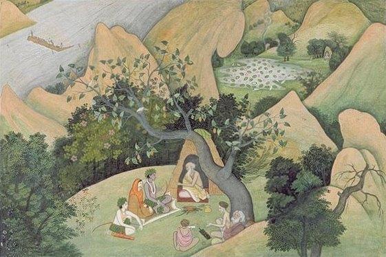 File:Rama, Sita, and Lakshman at the Rishi Bharadwaj ashram, dispersed Ramayana manuscript, ca. 1780.jpg