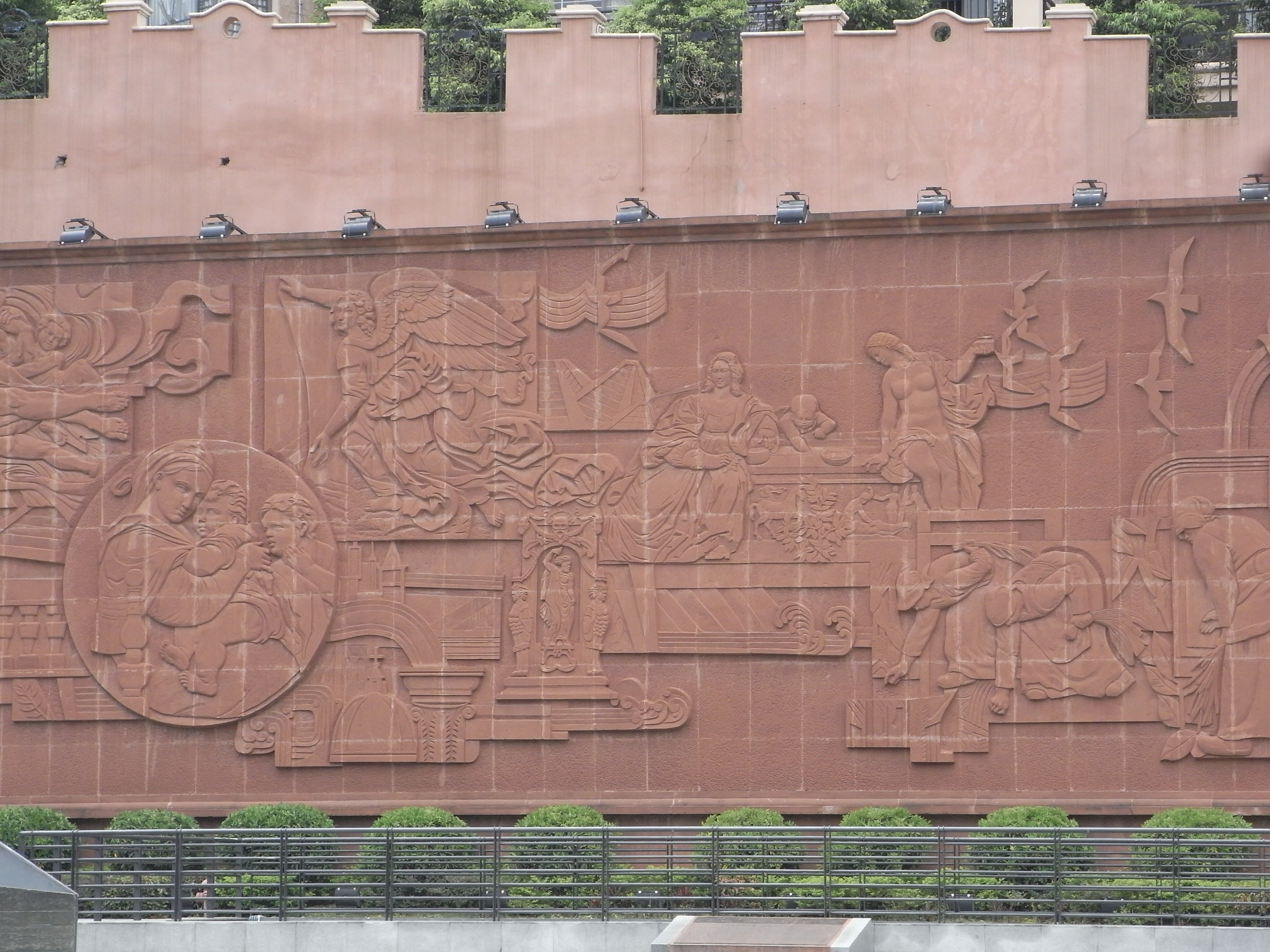 File sz da fen oil painting village art gallery outdoor wall 07 reliefs jpg wikimedia - How to paint exterior wall decor ...