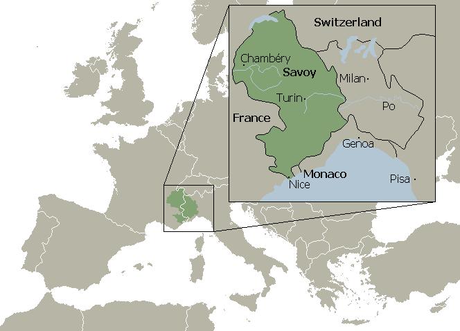サヴォイア公国の位置