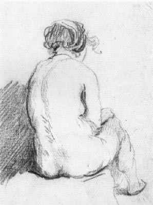Back of a sitting nude by Rembrandt.