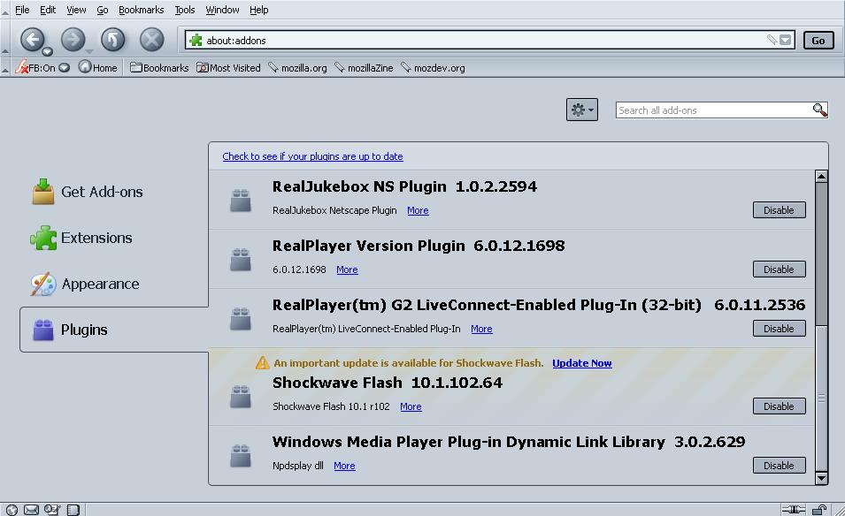 File:SeaMonkey 2 5 Add-ons Manager--Plugin update notice (Flash 10 1