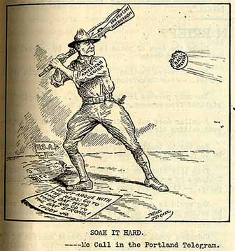 "In this political cartoon from the Portland Telegram a Legionnaire prepares to hit a ball labeled ""Bolshevism"" with a rifle butt labeled ""100 per cent Americanism"" beside a quote from Theodore Roosevelt: ""Don't argue with the reds; go to bat with them and go to the bat strong!"" Sock it hard.jpg"