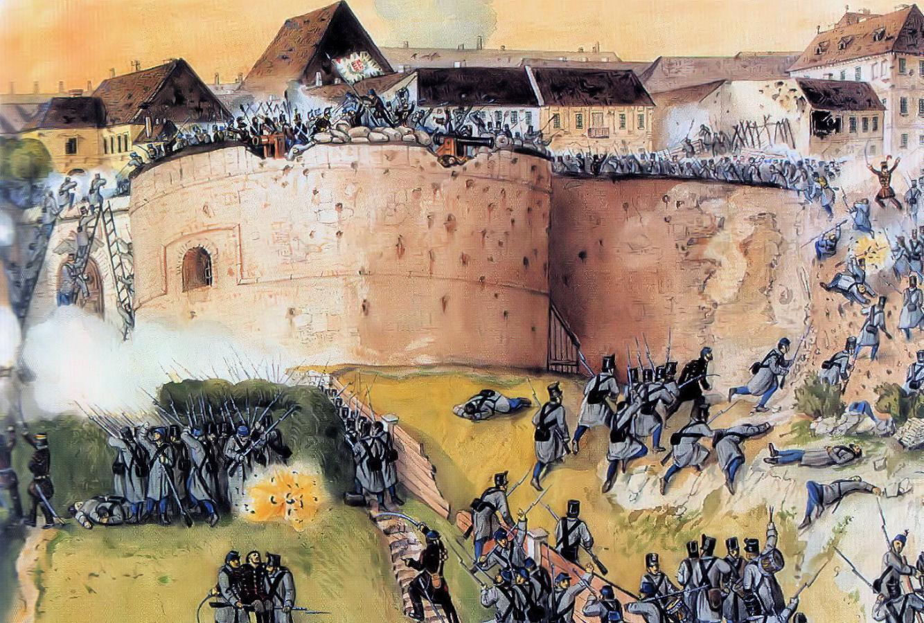A magyar fősereg visszafoglalja a budai várat a császáriaktól. Than Mór festménye