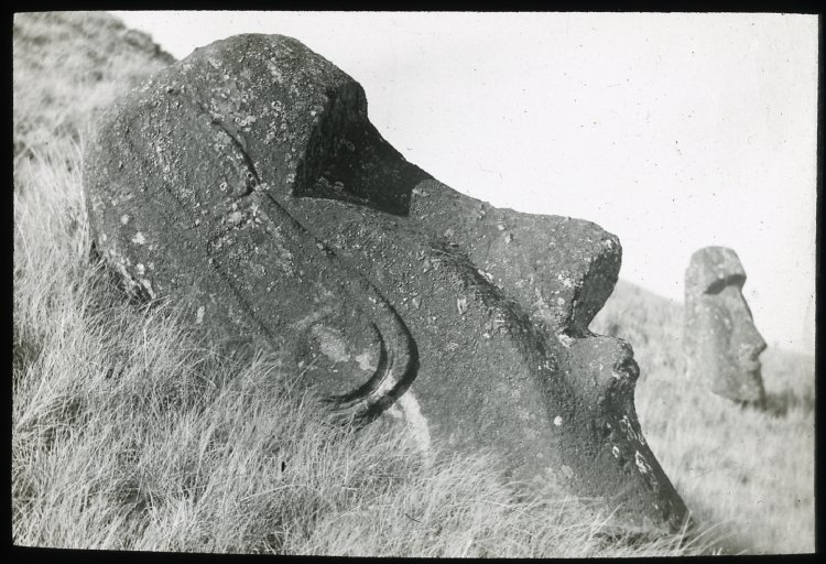 File:Two moai at Rano Raraku, Oc,G.T.1468, Mana Expedition to Easter Island, British Museum.jpg
