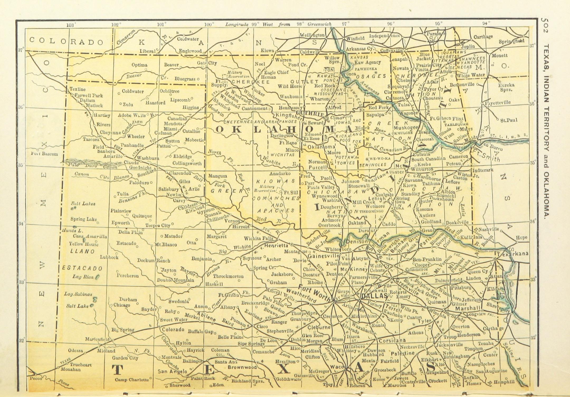 FileUSMAPS1891 P504 MAP OF TEXAS OKLAHOMA AND INDIAN - Corsicana Tx Us Map