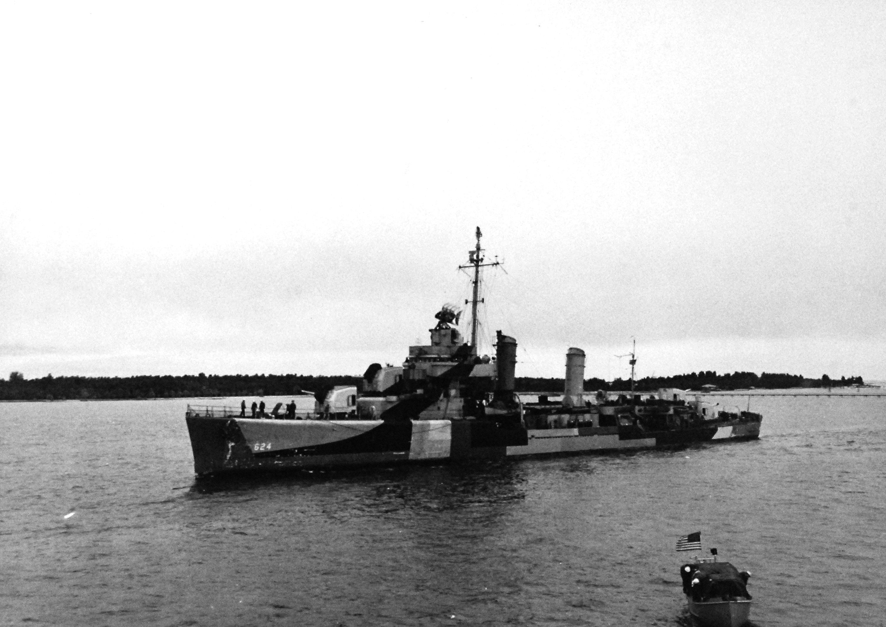 USS Baldwin (DD-624) in the Suez Canal, Egypt, on 9 February 1945.
