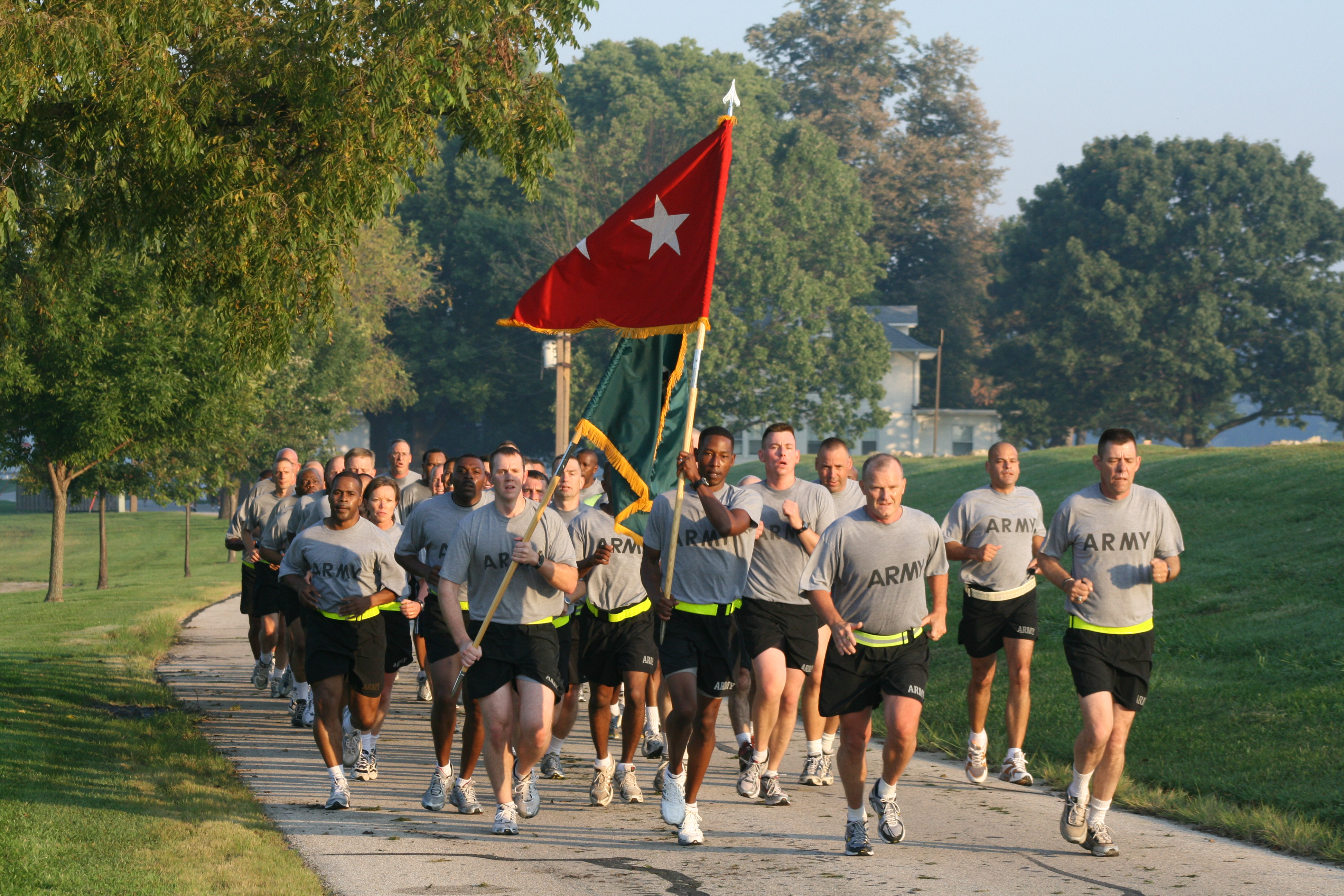 File:US Army 52264 CG runs command, Leaders PT with ...