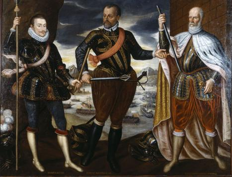 The Victors of Lepanto, John of Austria, Marcantonio Colonna and Sebastiano Venier (anonymous oil painting, c. 1575, formerly in Ambras Castle, now Kunsthistorisches Museum, Vienna) Victors of Lepanto.jpg