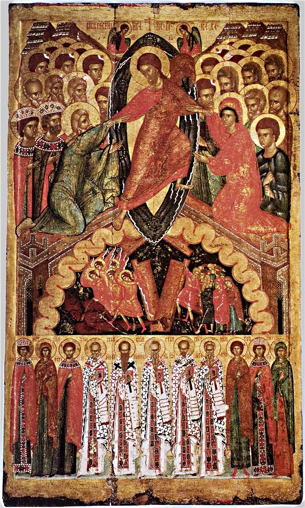 Сошествие во ад (Воскресение Христово) с Деисусом и избранными святыми XIV-XVI Псков.jpg