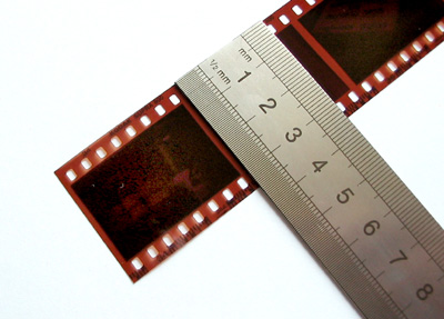 135 film, with a metric ruler for scale.