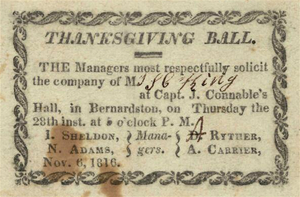 1816 Thanksgiving Ball Bernardson Massachusetts