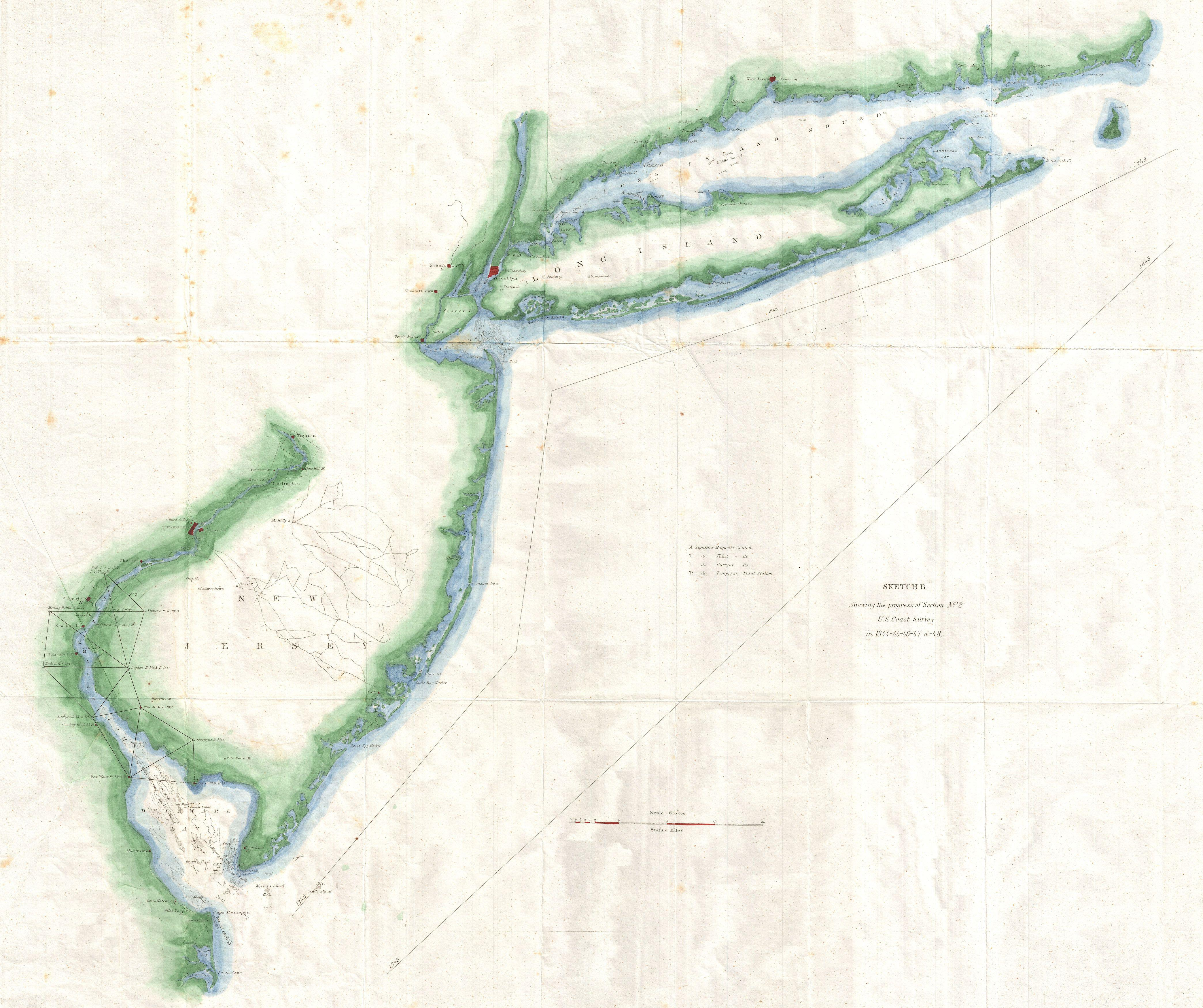 File1848 US Coast Survey Map of New Jersey and Long Island