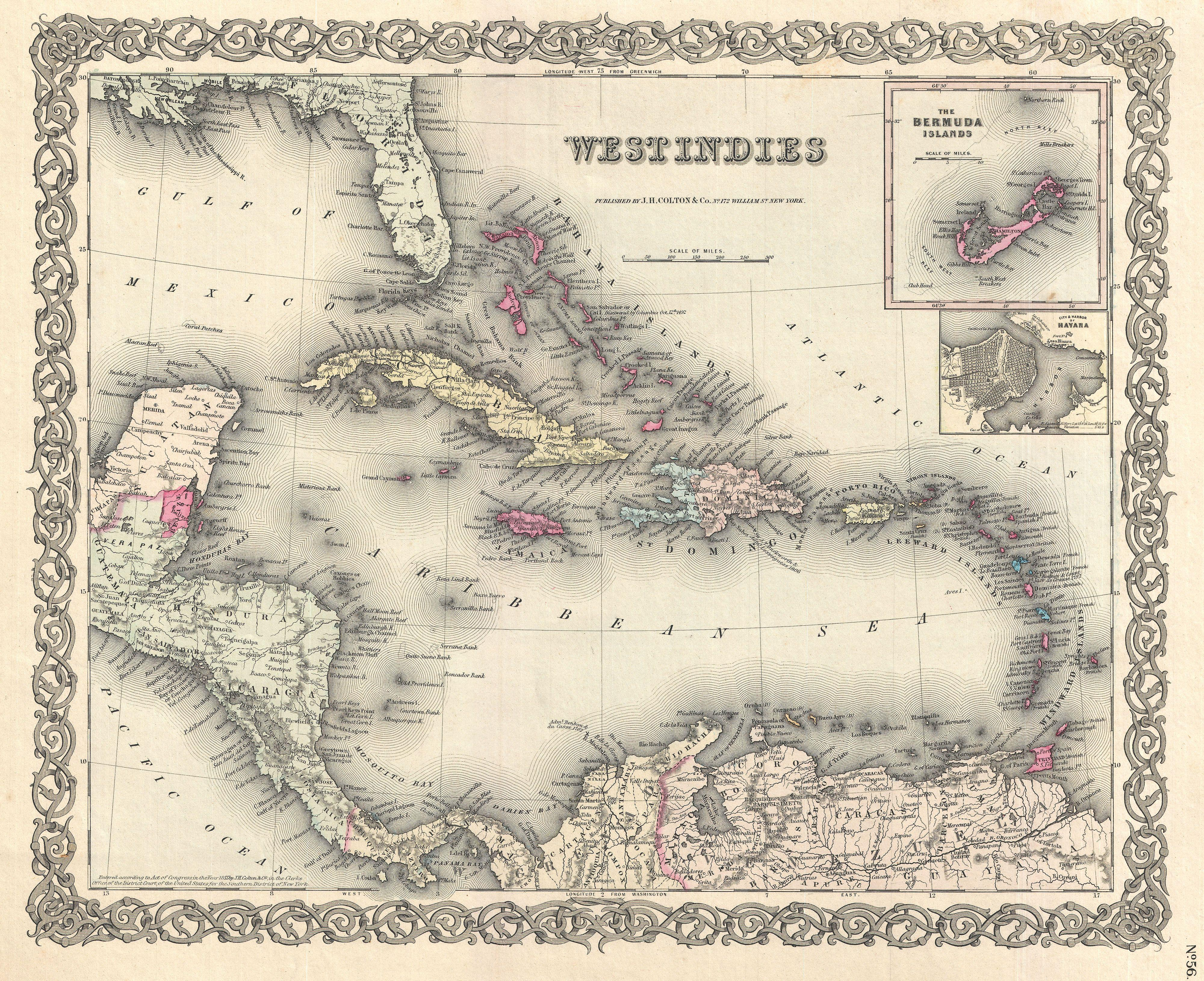 1855 Colton Map of the West Indies
