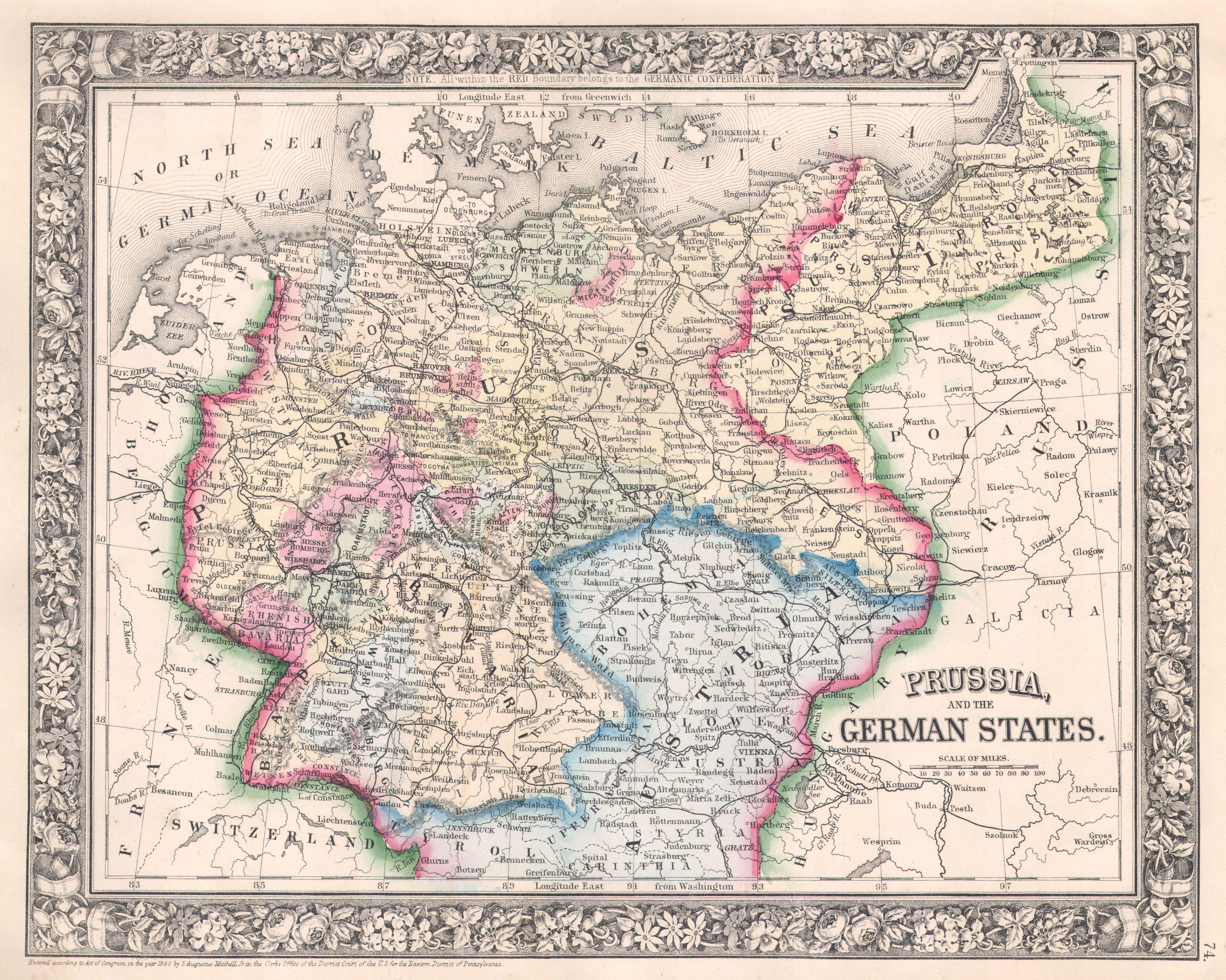 Map Of Germany Jpg.File 1864 Mitchell Map Of Prussia And Germany Geographicus