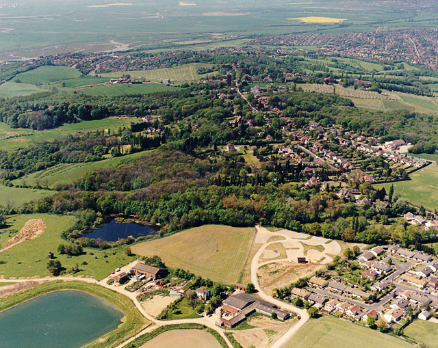 Aerial view of Hadleigh Country Park, parking area - geograph.org.uk - 1564297