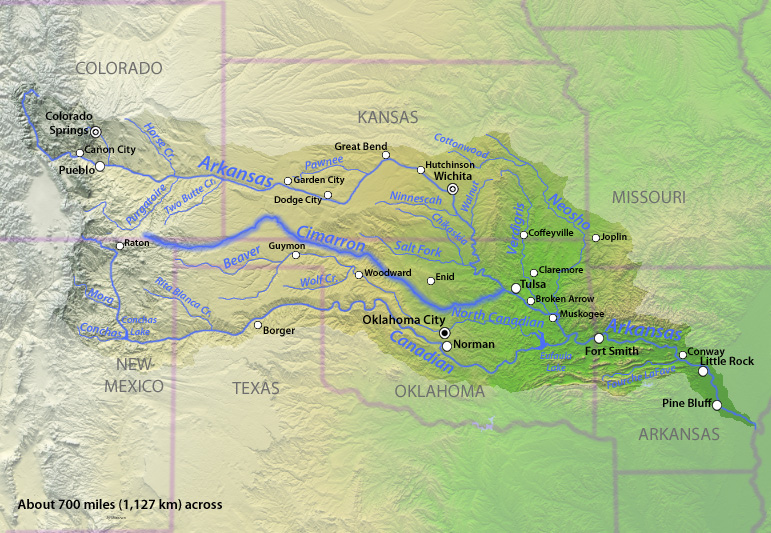 Cimarron River And Arkansas River Drainage Basin In The High - Arkansas relief map