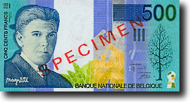500 francs showing portrait of Magritte