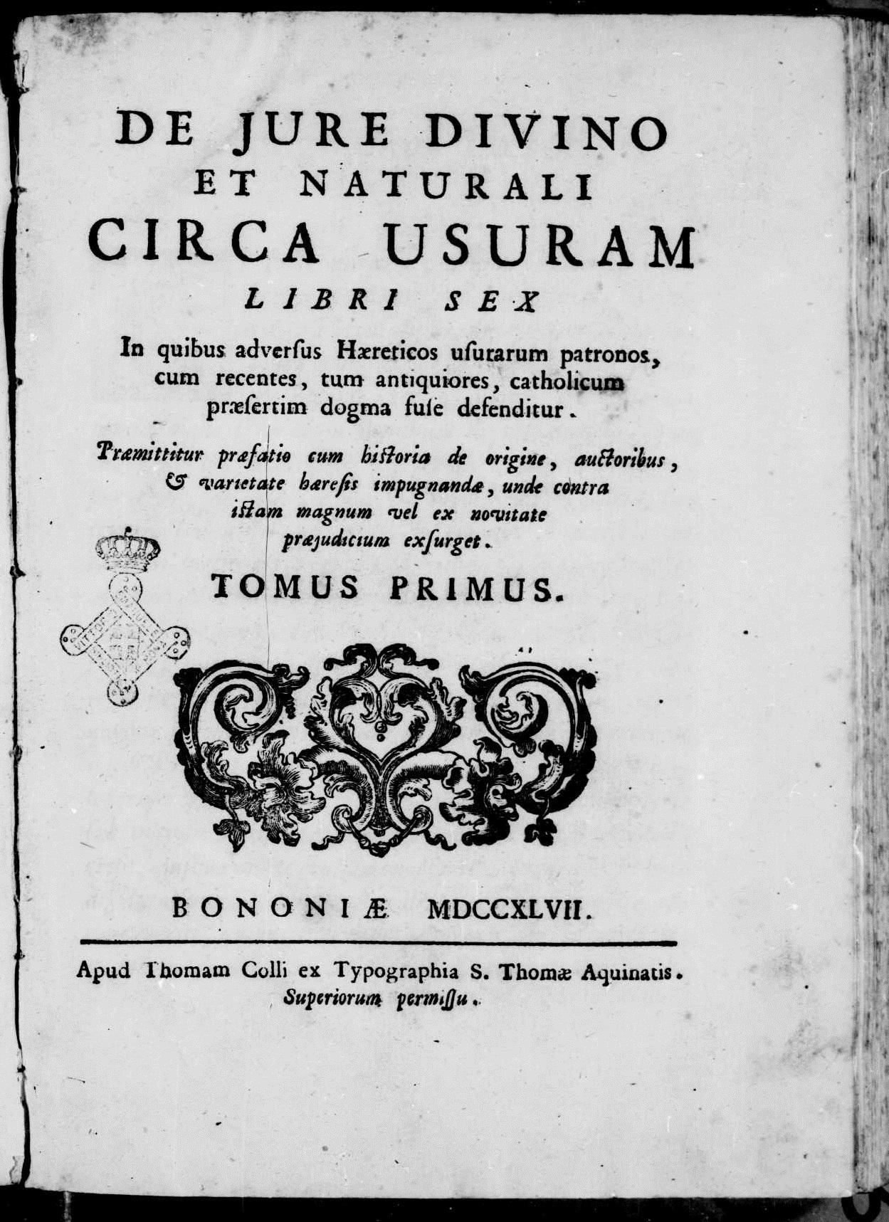 ''De iure divino et naturali circa usuram'', 1747