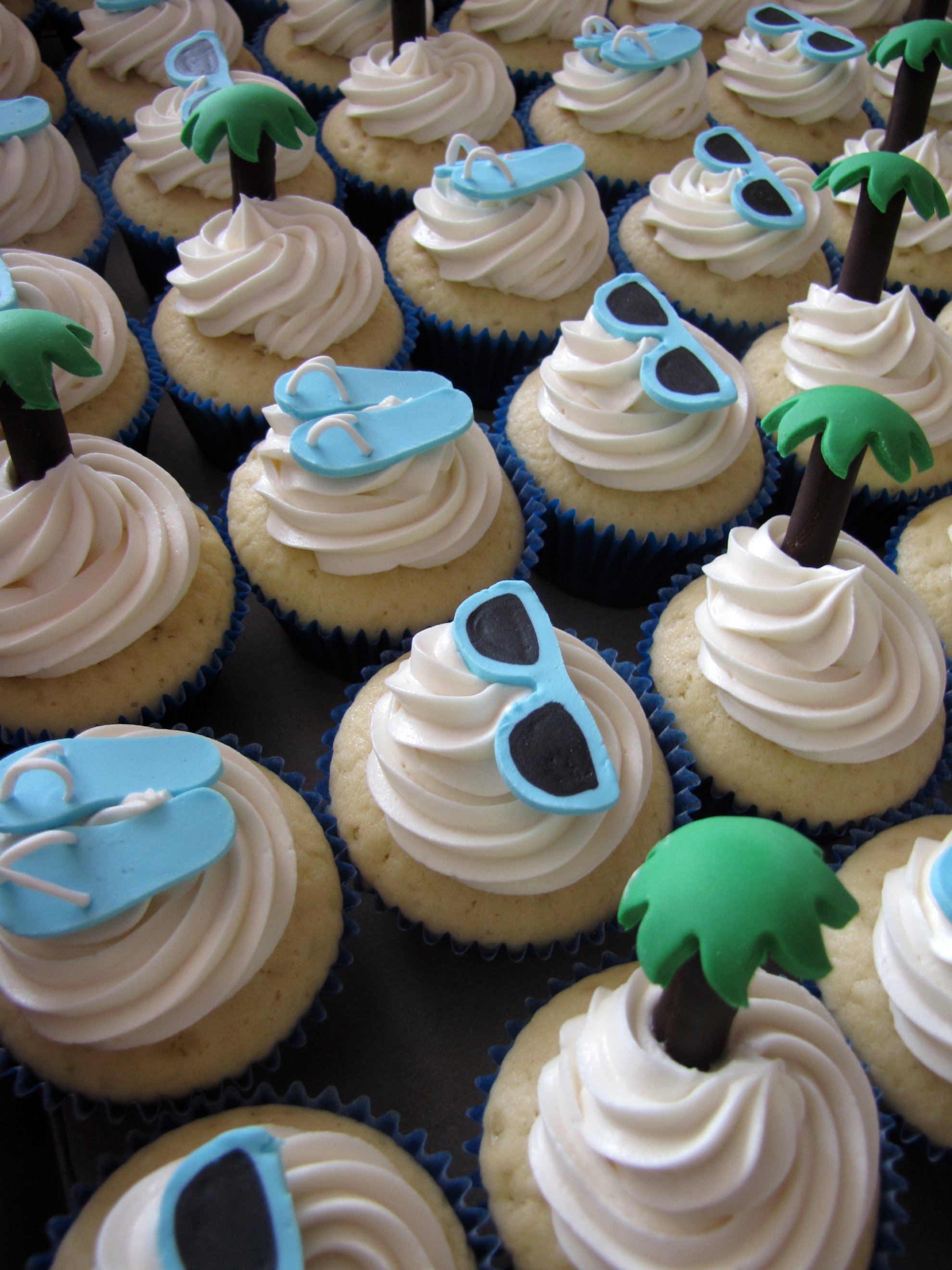 File Beach Themed Bridal Shower Cupcakes