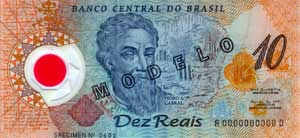 A R$10.00 (ten reais) polymer Brazilian banknote released in April 2000 as a special edition commemorating the country's 500th anniversary.