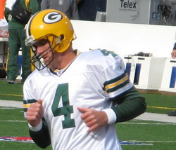 Green Bay Packers quarterback Brett Favre duri...