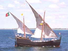 Replica of caravel ship introduced in the mid-15th century for oceanic exploration