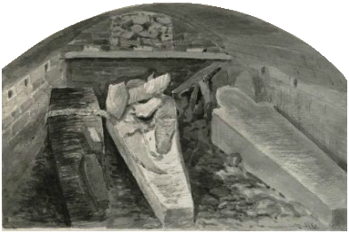 Coffins of King Henry VIII (centre, damaged), Queen Jane (right), King Charles I with a child of Queen Anne (left), vault under the choir, St George's Chapel, Windsor Castle, marked by a stone slab in the floor. 1888 sketch by Alfred Young Nutt, Surveyor to the Dean and Canons CoffinHenryVIIIStGeorgesChapelWindsor.png